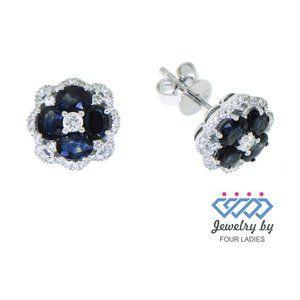 Oval Diamond Blue Sapphire Stud EarringsWhite Gold